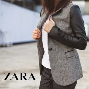 Zara | Tweed faux leather sleeve jacket (flawed)